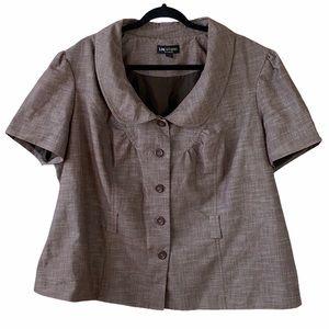 I.N Studio Peter Pan Collar Short Sleeve Jacket
